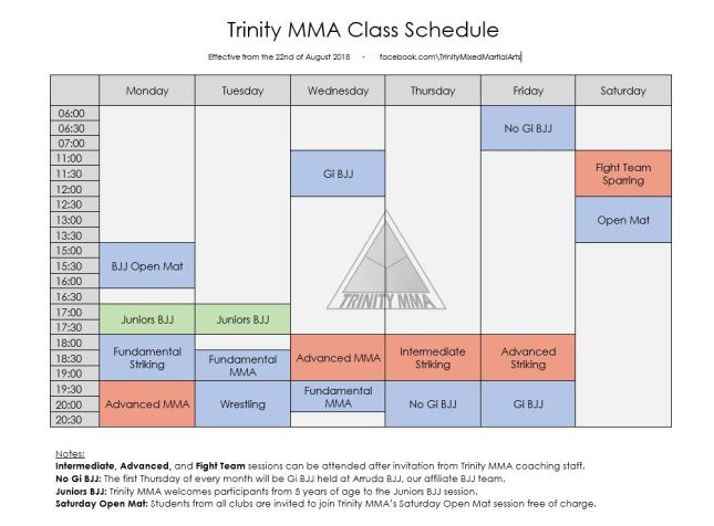 Trinity Timetable Current Oct 18